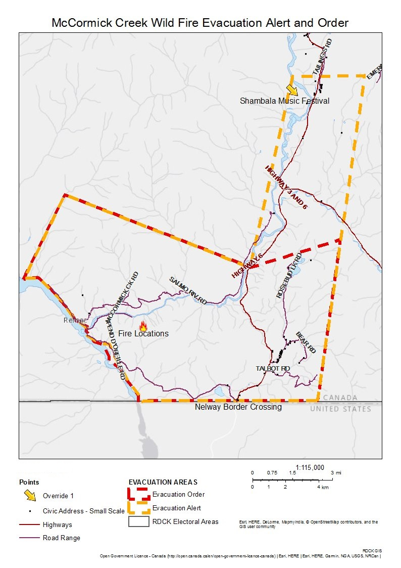 Evacuation Order Area Of Nelway Due To McCormick Wildfire - Us electoral map fire