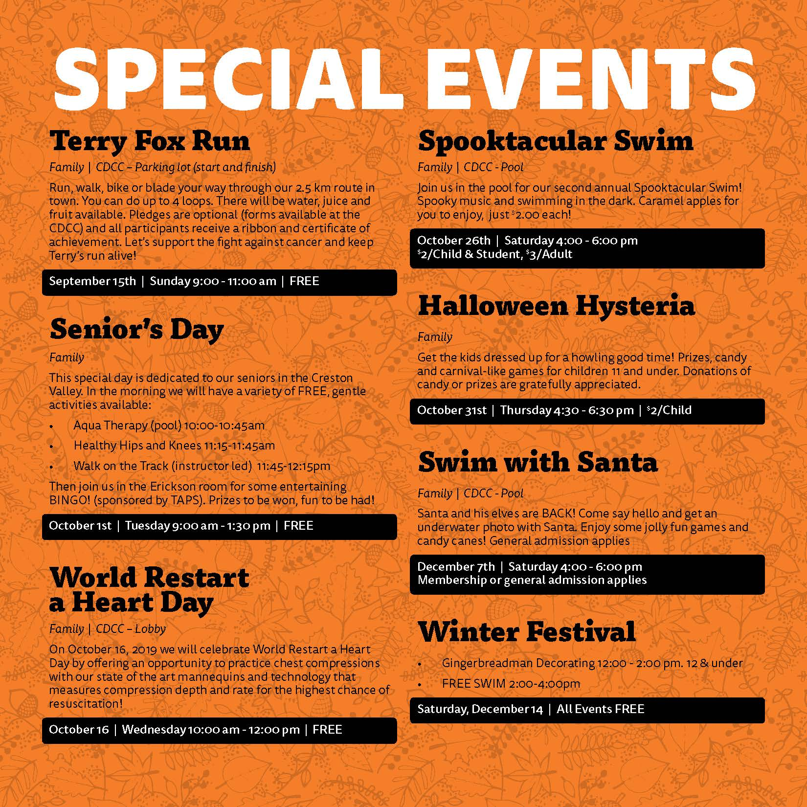 CDCC Fall Special Events