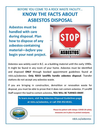 Asbestos Dipsosal Guidelines Regional District Of Central Kootenay